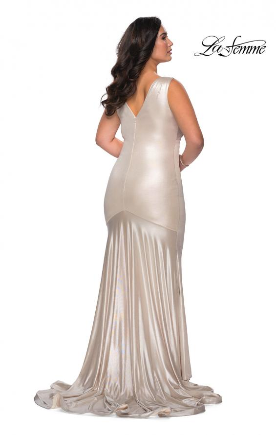 Picture of: Long Plus Size Dress in Metallic Jersey in Champagne, Style: 28857, Back Picture