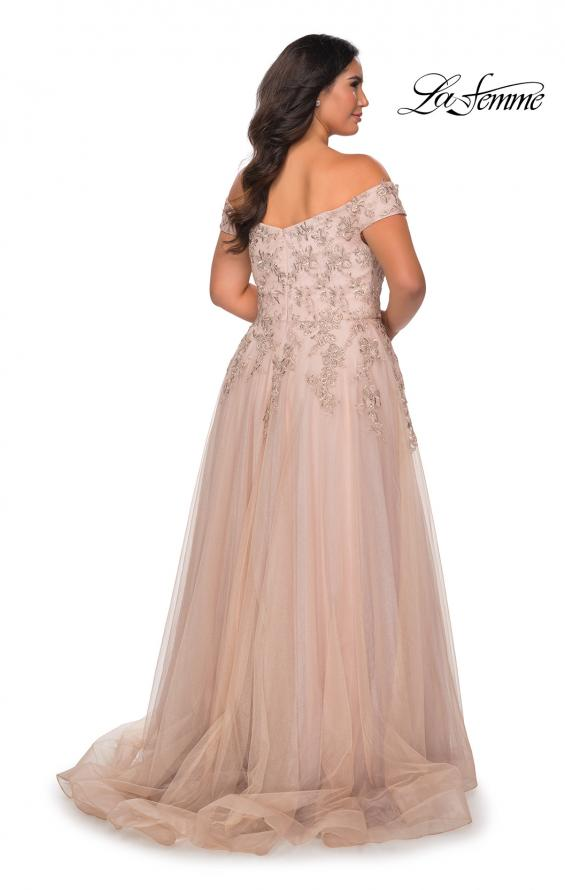 Picture of: Off The Shoulder Tulle Plus Size Gown with Lace in Champagne, Style: 28950, Back Picture