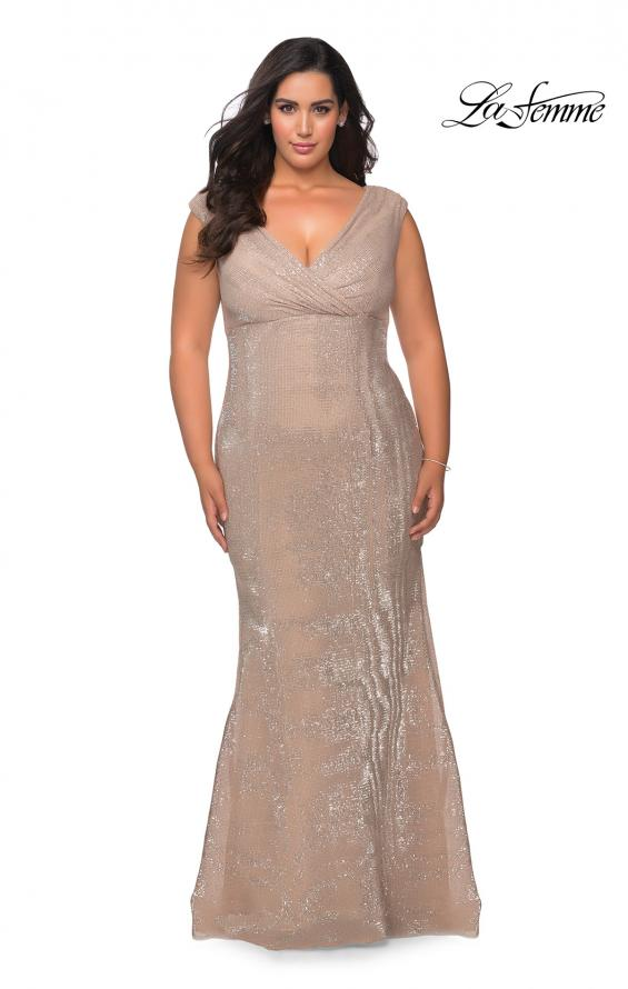 Picture of: Faux Wrap Bodice Sequin Plus Size Prom Gown in Champagne, Style: 28962, Detail Picture 2