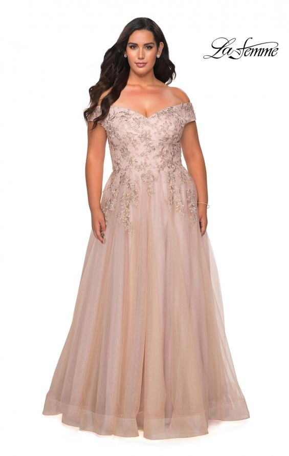 Picture of: Off The Shoulder Tulle Plus Size Gown with Lace in Champagne, Style: 28950, Detail Picture 4