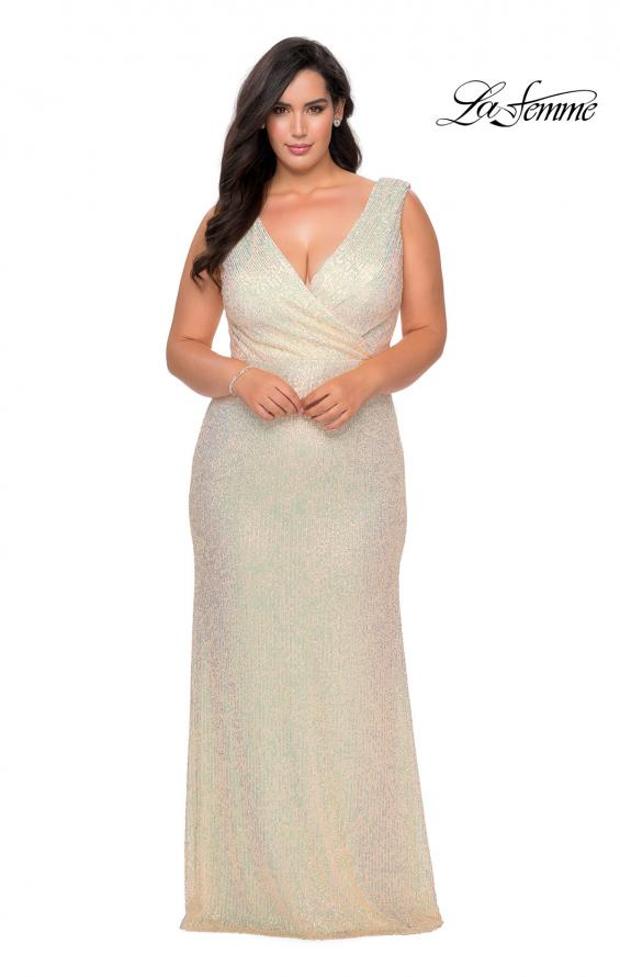 Picture of: Long Sequin Plus Size Prom Gown with V-Neck in Champagne, Style: 28770, Detail Picture 5
