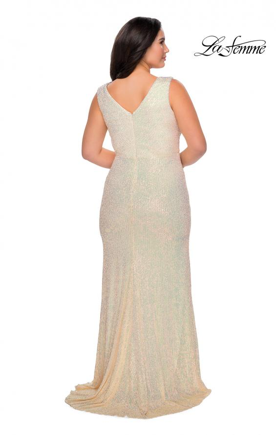 Picture of: Long Sequin Plus Size Prom Gown with V-Neck in Champagne, Style: 28770, Detail Picture 6
