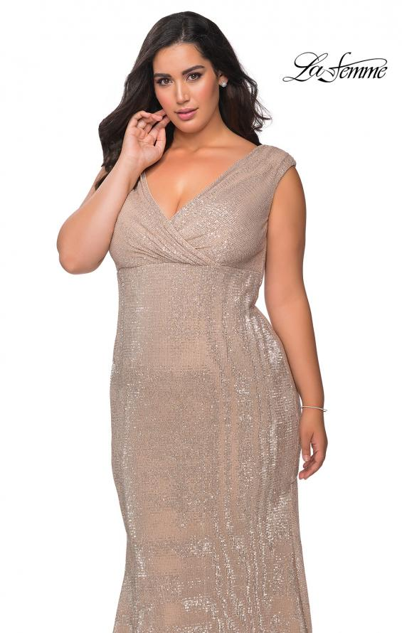Picture of: Faux Wrap Bodice Sequin Plus Size Prom Gown in Champagne, Style: 28962, Detail Picture 6