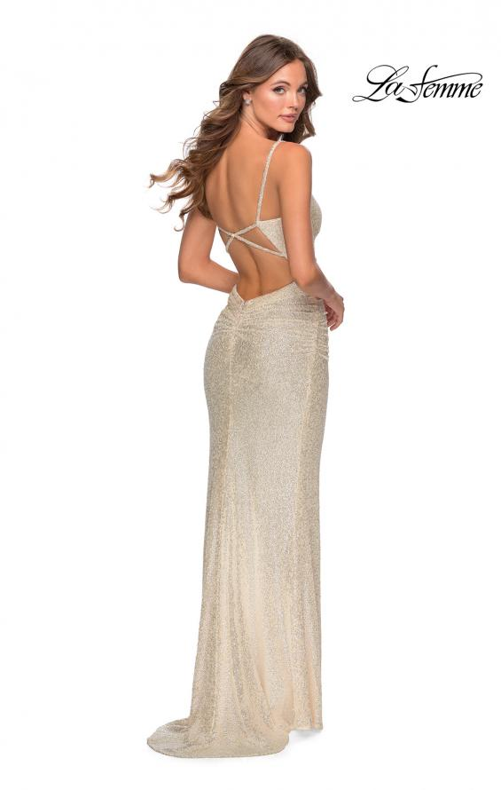 Picture of: Ruched Sequin Floor Length Prom Dress in Champagne, Style: 28335, Back Picture