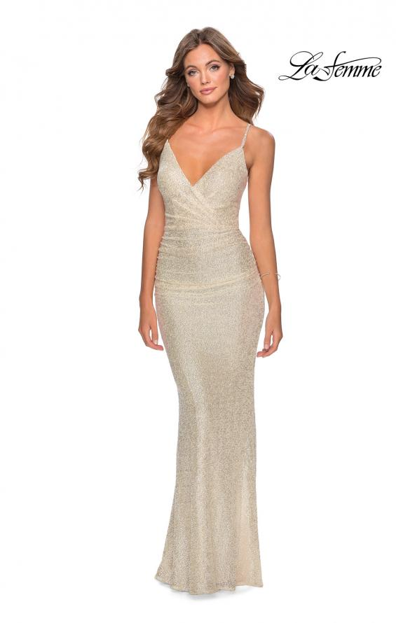 Picture of: Ruched Sequin Floor Length Prom Dress in Champagne, Style: 28335, Detail Picture 1