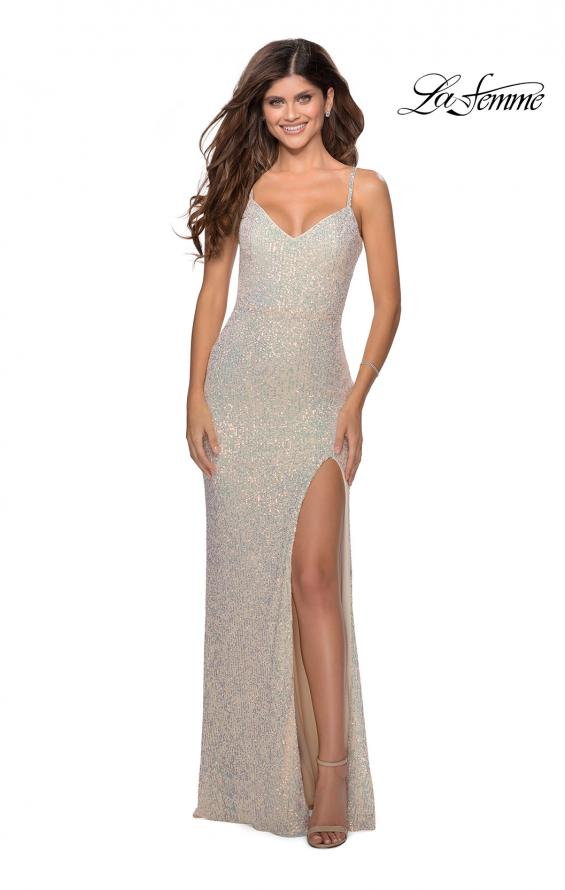 Picture of: Long Sequin Gown in Pastel Colors in Champagne, Style: 28441, Detail Picture 1