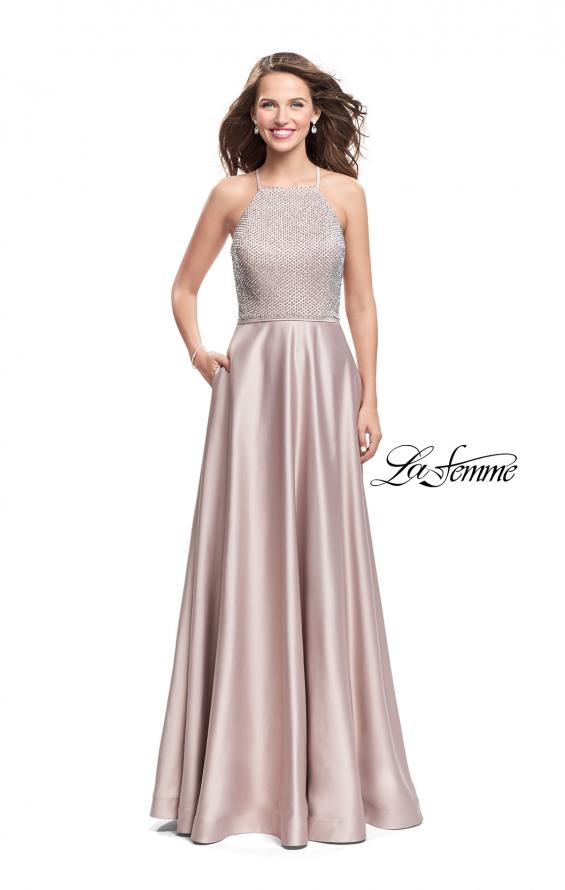 Picture of: Satin A-line Ball Gown Featuring Beading and a High Neck in Champagne, Style: 25601, Detail Picture 2