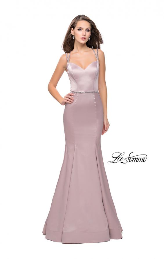 Picture of: Satin Mermaid Prom Dress with Beading and Open Back in Champagne, Style: 25711, Detail Picture 2