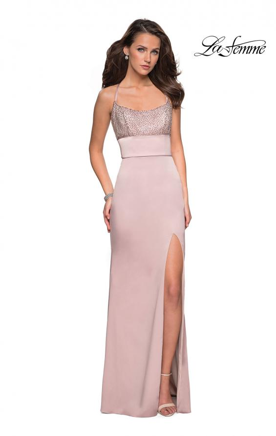 Picture of: Fitted Jersey Dress with Banded Waist and Beads in Champagne, Style: 27274, Detail Picture 2