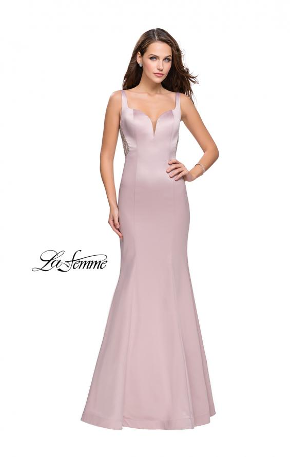 Picture of: Long Mermaid Gown with Sheer Deep V and Beading, Style: 25454, Detail Picture 3
