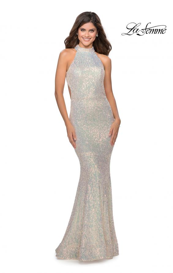 Picture of: Long Sequin Gown with High Neckline and Lace Back in Champagne, Style: 28612, Detail Picture 3