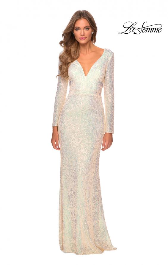 Picture of: Long Sleeve Sequin Gown with Open Back Detail in Champagne, Style: 28743, Detail Picture 3