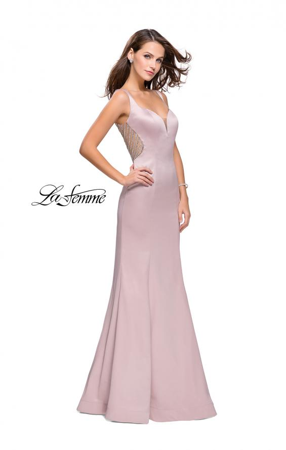 Picture of: Long Mermaid Gown with Sheer Deep V and Beading, Style: 25454, Detail Picture 4