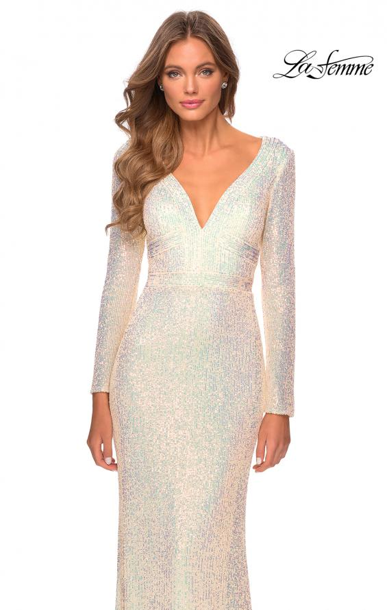 Picture of: Long Sleeve Sequin Gown with Open Back Detail in Champagne, Style: 28743, Detail Picture 4