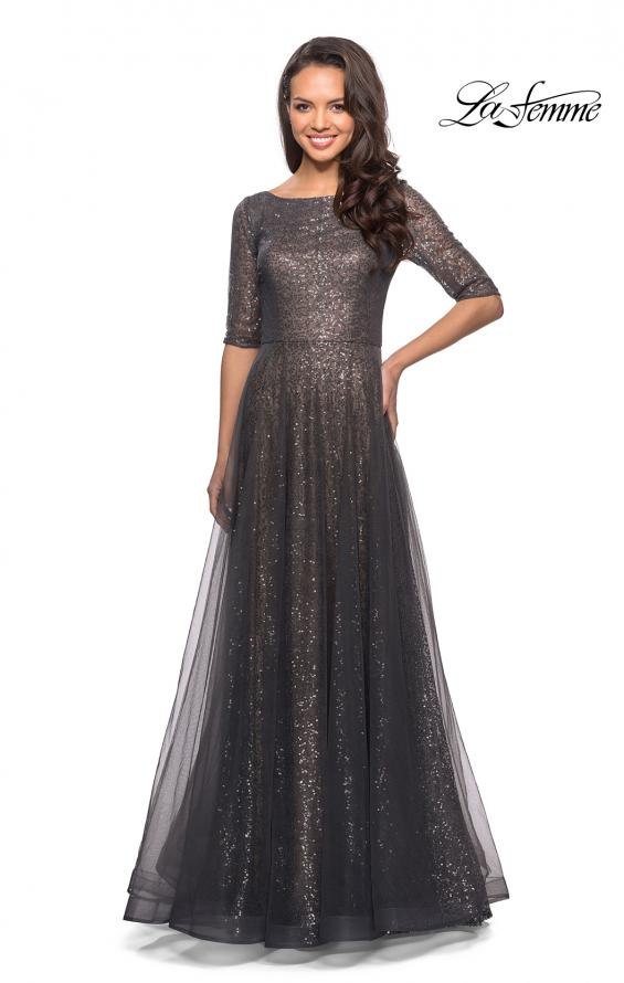 Picture of: Fully Sequined Floor Length Gown with Pockets in Charcoal, Style: 27016, Detail Picture 1