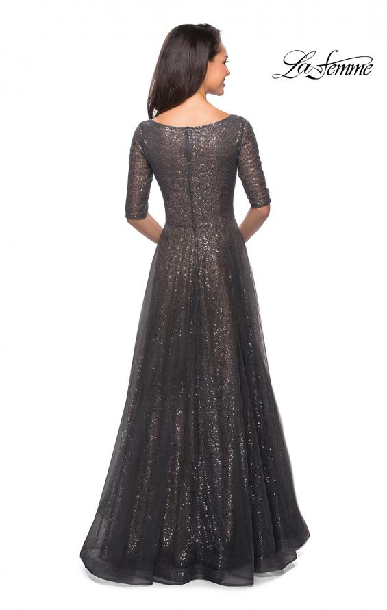 Picture of: Fully Sequined Floor Length Gown with Pockets in Charcoal, Style: 27016, Detail Picture 2