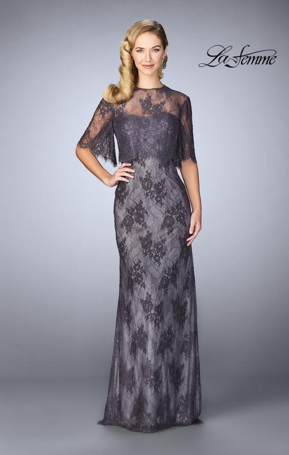 Picture of: Evening Strapless Lace Dress with Matching Lace Shawl in Charcoal, Style: 24856, Main Picture