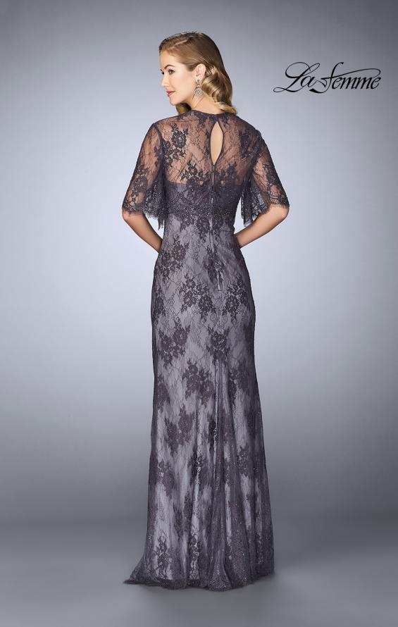 Picture of: Evening Strapless Lace Dress with Matching Lace Shawl in Charcoal, Style: 24856, Back Picture