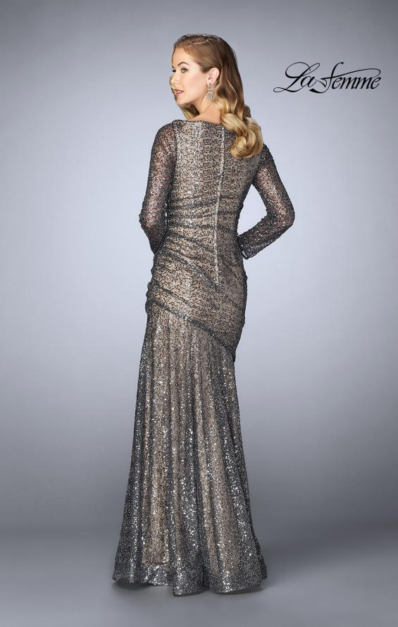 Picture of: Gathered Sequin Prom Gown With Long Sleeves, Style: 24919, Back Picture