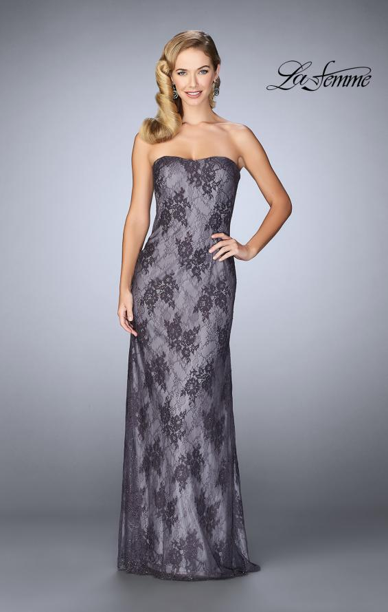 Picture of: Evening Strapless Lace Dress with Matching Lace Shawl in Charcoal, Style: 24856, Detail Picture 1