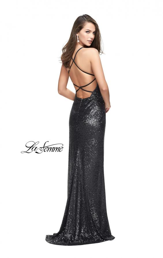 Picture of: Sequined Prom Dress with Wrap Side Leg Slit and Racer Back, Style: 25661, Back Picture