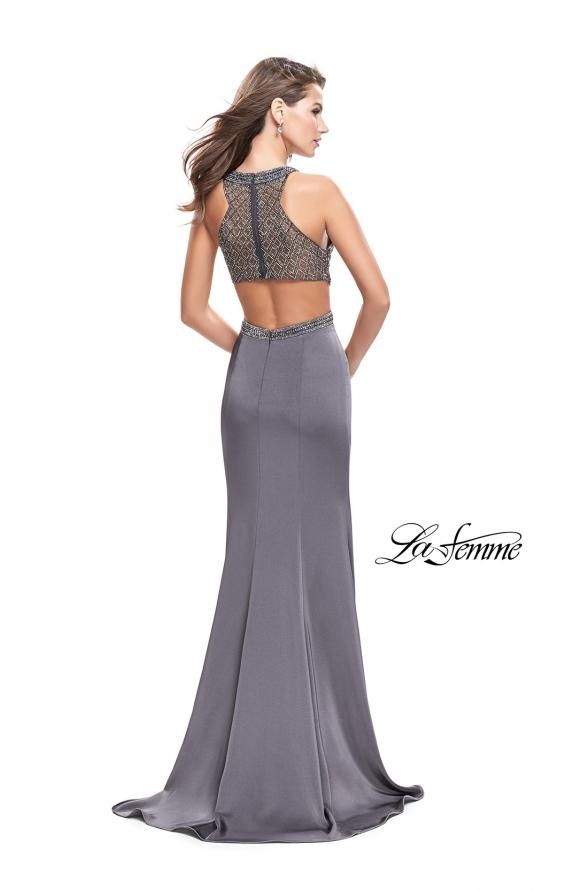 Picture of: Long Jersey Prom Dress with High Neck and Beading, Style: 26130, Back Picture