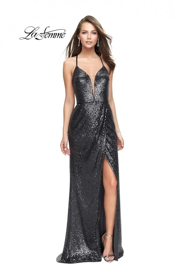 Picture of: Sequined Prom Dress with Wrap Side Leg Slit and Racer Back, Style: 25661, Detail Picture 1