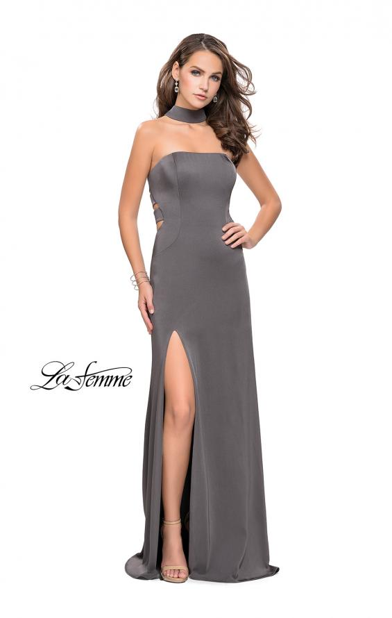 Picture of: Strapless Jersey Prom Dress with Attached Choker in Charcoal, Style: 25735, Detail Picture 1