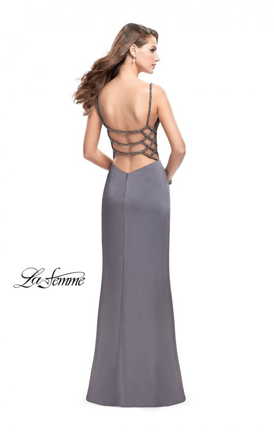 Picture of: Long Classic Form Fitting Prom Dress with Leg Slit, Style: 26274, Detail Picture 3