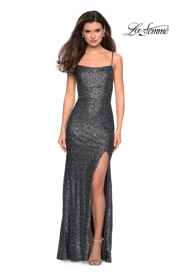 Picture of: Floor Length Fully sequin Prom Dress with Slit in Charcoal, Style: 27272, Detail Picture 3