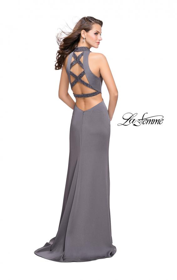 Picture of: Long Jersey Prom Dress with Side Cut Outs and Beading, Style: 25641, Detail Picture 4