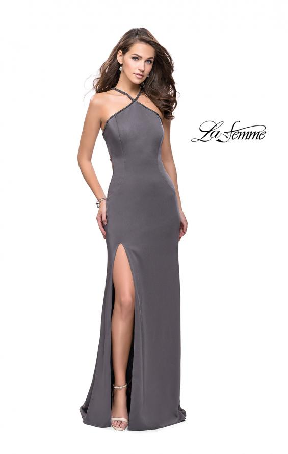 Picture of: Jersey Prom Dress with Beaded Straps and High Neckline, Style: 25698, Detail Picture 4