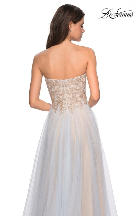 Picture of: Strapless Tulle Gown with Metallic Floral Appliques, Style: 27795, Back Picture
