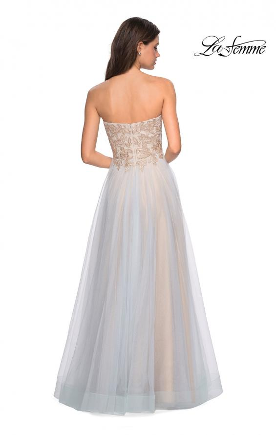Picture of: Strapless Tulle Gown with Metallic Floral Appliques, Style: 27795, Detail Picture 2