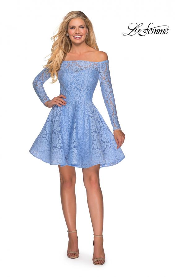 Picture of: Short Lace Dress with Off The Shoulder Long Sleeves in Cloud Blue, Style: 28175, Detail Picture 8