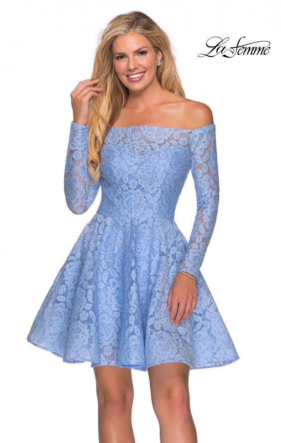 Picture of: Short Lace Dress with Off The Shoulder Long Sleeves in Cloud Blue, Style: 28175, Detail Picture 3