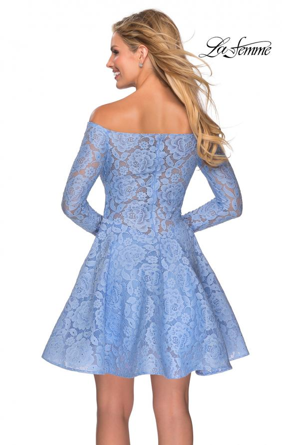 Picture of: Short Lace Dress with Off The Shoulder Long Sleeves in Cloud Blue, Style: 28175, Detail Picture 4