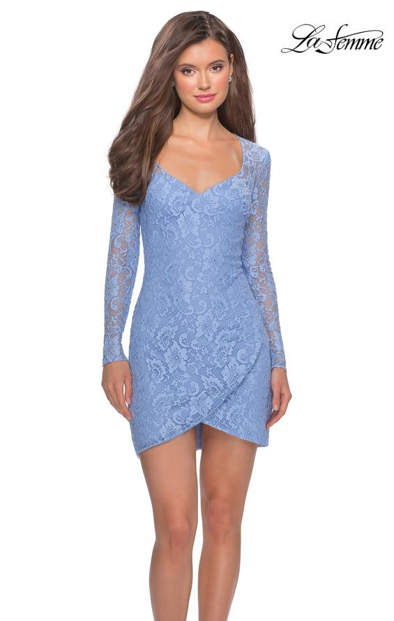 Picture of: Long Sleeve Lace Short Dress with Sheer Back Detail in Cloud Blue, Style: 28232, Detail Picture 4