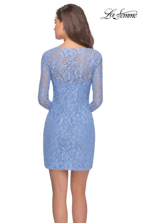 Picture of: Long Sleeve Lace Short Dress with Sheer Back Detail in Cloud Blue, Style: 28232, Detail Picture 5