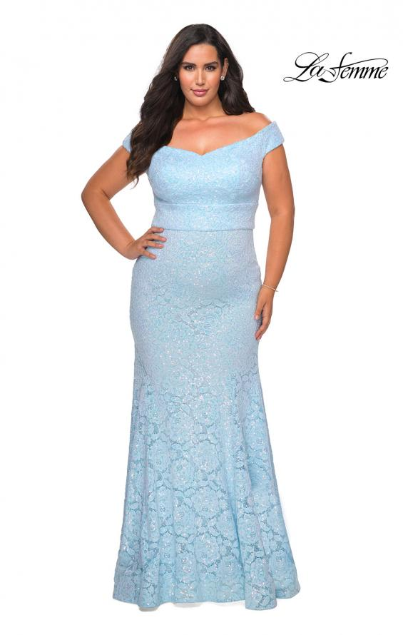 Picture of: Off the Shoulder Lace Plus Dress with Defined Waist in Cloud Blue, Style: 28883, Main Picture