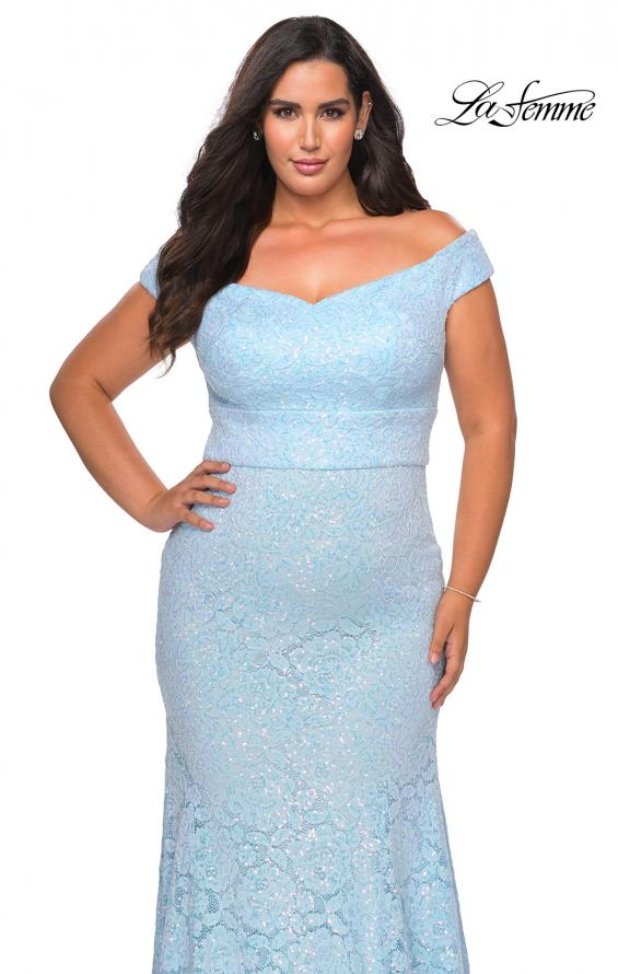 Picture of: Off the Shoulder Lace Plus Dress with Defined Waist in Cloud Blue, Style: 28883, Detail Picture 8