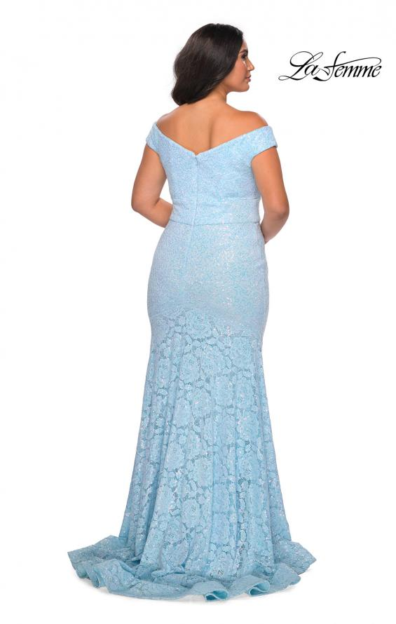Picture of: Off the Shoulder Lace Plus Dress with Defined Waist in Cloud Blue, Style: 28883, Back Picture