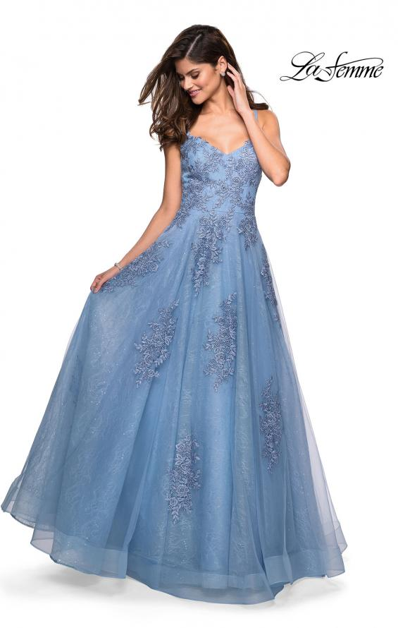 Picture of: Classic Lace A Line Dress with V Neckline and Pockets in Cloud Blue, Style: 27492, Main Picture