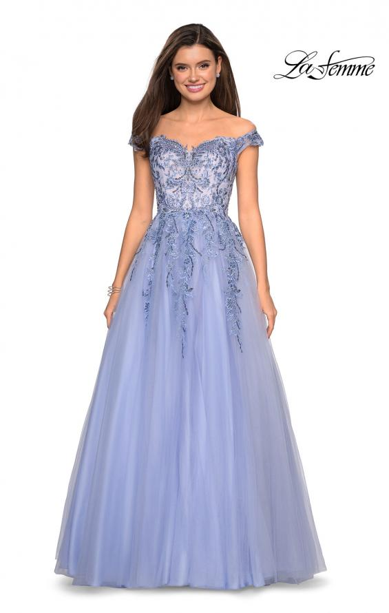 Picture of: Off the Shoulder Tulle Gown with BEaded Embellishments in Cloud Blue, Style: 27595, Main Picture