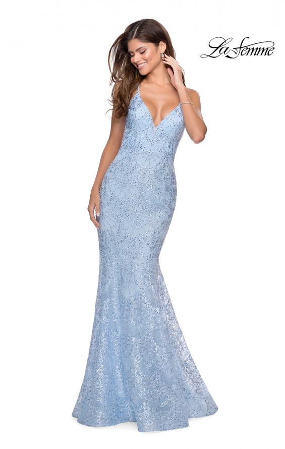 Picture of: Mermaid Prom Dress with Lace and Rhinestones in Cloud Blue, Style: 28643, Main Picture