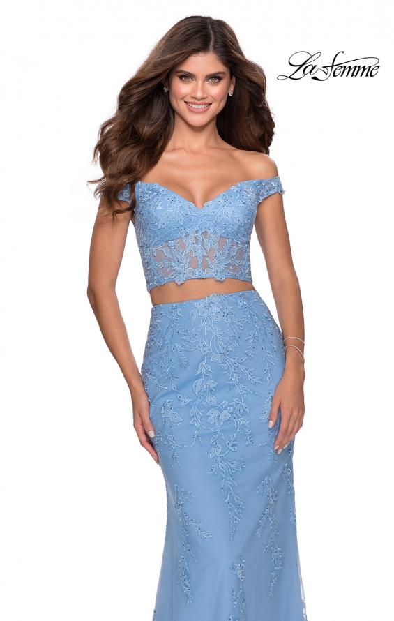 Picture of: Two Piece Off the Shoulder Lace Dress with Tulle Skirt in Cloud Blue, Style: 28682, Main Picture
