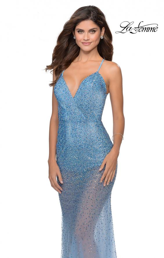 Picture of: Sheer Tulle Rhinestone Dress with Attached Shorts in Cloud Blue, Style: 28806, Main Picture