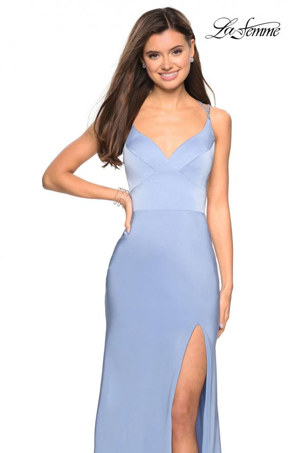 Picture of: Form Fitting Prom Dress with Slit and Beaded Straps in Cloud Blue, Style: 27519, Detail Picture 8