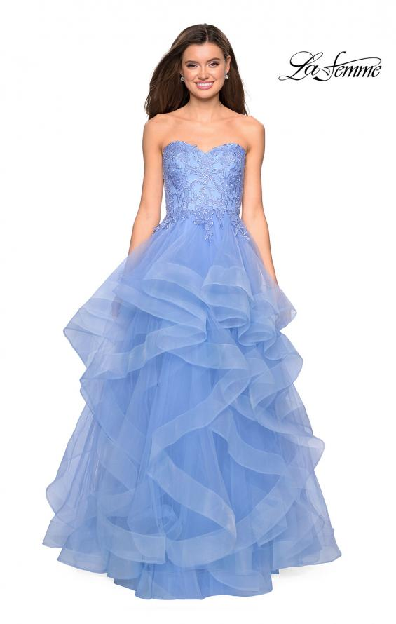 Picture of: Strapless Tulle Prom Gown with Lace Embellishments in Cloud Blue, Style: 27620, Detail Picture 8