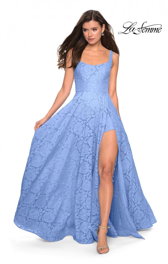 Picture of: Long Lace Prom Dress with Attached Shorts in Cloud Blue, Style: 27476, Detail Picture 10